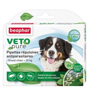 VETOPURE-Pipettes répulsives antiparasitaires- Grands Chiens