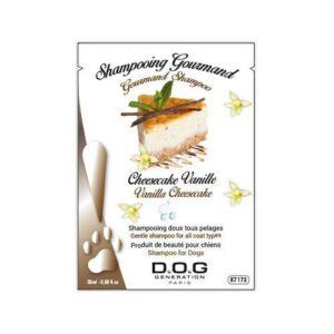 Echantillon 20 ml de shampooing Dog Génération cheese cake. Le shampooing gourmand au parfum authentique du Cheesecake Vanille, a été élaboré pour nettoyer tous les types de pelage sans agresser la peau. Existe en plusieurs conditionnement 250ml, 1L et 5L. Idéal pour un usage fréquent, le shampooing Cheesecake Vanille renforce et répare le poil en profondeur tout en apportant un effet conditionneur. Enrichie en huile de germe de blé, la formule adoucit et nourrit la fourrure grâce aux vitamines E et F. Mentions d'avertissement Danger Composants dangereux Sodium Laureth Sulfate Mentions de danger H315 - Provoque une irritation cutanée. H318 - Provoque de graves lésions des yeux. Conseils de prudence P101 - En cas de consultation d'un médecin, garder à disposition le récipient ou l'étiquette. P102 - Tenir hors de portée des enfants. P264 - Se laver les mains soigneusement après manipulation. P302+P352 - EN CAS DE CONTACT AVEC LA PEAU: Laver abondamment à l'eau. P305+P351+P338 - EN CAS DE CONTACT AVEC LES YEUX: Rincer avec précaution à l'eau pendant plusieurs minutes. Enlever les lentilles de contact si la victime en porte et si elles peuvent être facilement enlevées. Continuer à rincer. P332+P313 - En cas d'irritation cutanée: consulter un médecin. Phrases EUH EUH208 - Contient DIAZOLIDINYL UREA(78491-02-8). Peut produire une réaction allergique.
