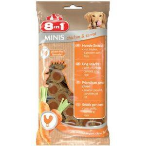 """Friandises 8 in 1 """"Minis"""" Des petites friandises saines pour récompenser votre chien tout en prenant soin de lui ! Faites plaisir à votre chien en toute sérénité grâce à leur formule sans gluten, pour faciliter la digestion, à faible teneur en matières grasses, pour éviter tout problème de surpoids et sans sucre ajouté. Leur sachet est refermable pour une meilleure conservation et plus de praticité. Conditionnement : sachet de 100 gr refermable. Dimension de chaque friandise : 2 cm. conseils d'utilisation : aliment à donner en plus des repas quotidien, les friandises ne peuvent pas constituer un repas complet. Veillez à ce que votre chien ait un accès à une gamelle d'eau."""