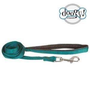 Laisse Doogy en nylon avec poignée confortable. Couleur unie : vert sapin Couleur doublure de la poignet noire Taille : 1.20m x 20mm