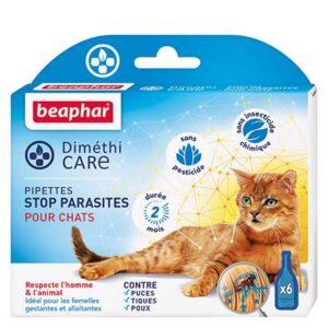 Diméthicare pipettes stop parasites pour chats adultes 6x1 ml Les Atouts : Sans pesticide, ni insecticide chimique Immobilise les puces, les tiques et les poux Agit sur les parasites adultes, les larves et les œufs Idéal pour les femelles gestantes et allaitantes Durée 2 mois Les pipettes Diméthicare de Beaphar représentent l'alternative idéale aux insecticides chimiques. Les pipettes Diméthicare de Beaphar sont spécialement conçues pour les chats. Elles sont à base de Diméthicone, qui immobilise physiquement les parasites en agissant comme un piège collant, par simple contact du produit. Les parasites ne peuvent plus bouger et tombent de l'animal ou peuvent être éliminés en brossant le pelage. Le Diméthicone stoppe les infestations des puces et des poux, à tous les stades de vie des parasites : œufs, larves et insectes adultes.