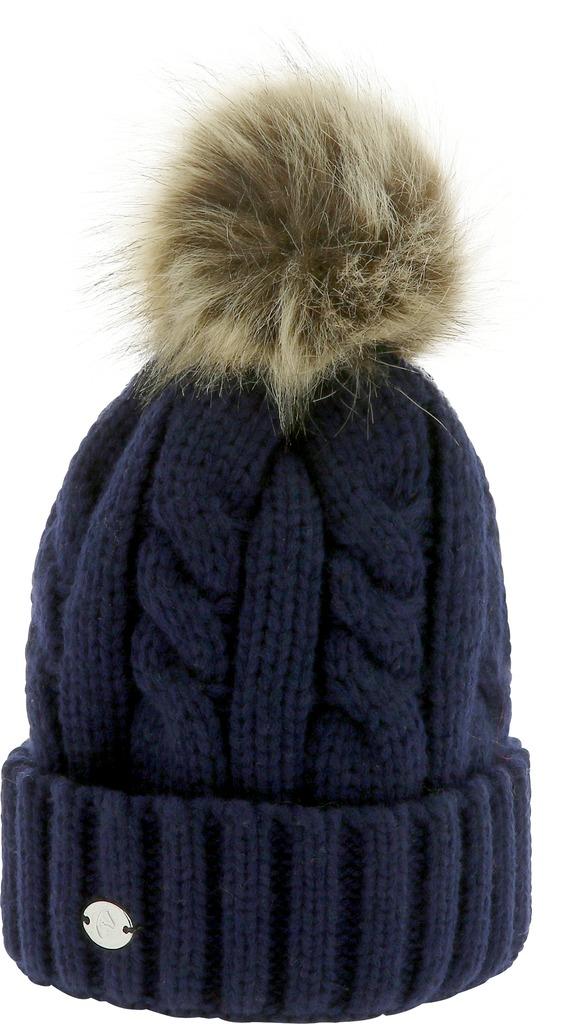 Bonnet en laine acrylique doublé polaire 100% polyester. Pompon en fausse fourrure Lavable en machine à 30°C Taille unique