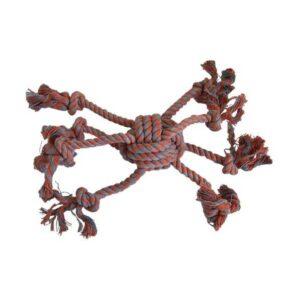 Jouet en corde pour chien composée de 8 lanières en corde. Idéal pour les jeux de traction Diamètre de la balle 8 cm