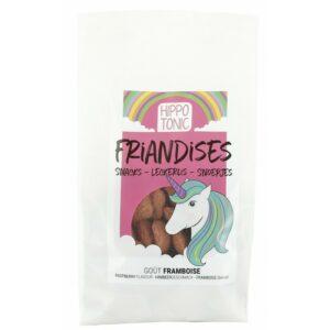 """Sachet de friandises """"Licornes"""" HIPPOTONIC pour chevaux goût framboise Bonbons en forme de cœurs Contenance : 600 g Instructions : donner jusqu'à 200 g par animal et par jour."""